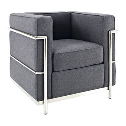 LexMod - Le Corbusier Style LC2 Armchair in Dark Gray Wool - Urban life has always a quandary for designers. While the torrent of external stimuli surrounds, the designer is vested with the task of introducing calm to the scene. From out of the surging wave of progress, the most talented can fashion a forcefield of tranquility.