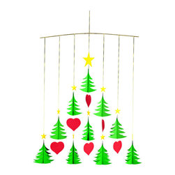 Flensted Mobiles - Christmas Trees 10 Mobile - Perfect red hearts dance among the 10 star-topped trees in this Christmas mobile. Hang it next to the tree for the maximum of yule spirit, or in the window to share the season with your neighbors.