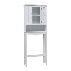 Elite - Greek Key Space Saver Cabinet - If you have limited storage space in your bathroom, this white bathroom storage cabinet is the perfect solution. Designed to fit around the toilet, this storage cabinet features a rich, white finish and plenty of room for storing toiletries.