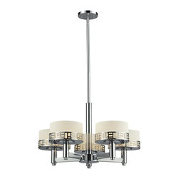 Z-Lite - Z-Lite Elea Chandelier X-HC-5-823 - The Elea family boasts a geometric pattern that combines pure white matte opal glass with a rich chrome finish delivering a fascinating contemporary design.