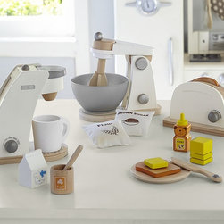 Wooden Appliances - Simple, interactive wooden toys add richness and fun to playing house. Kids can spin the handle to turn the mixer, make the toast pop up, and turn the handle on the coffee maker.