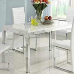 Homelegance - Homelegance Clarice Rectangular Dining Table w/ Chrome Frame - The ultra contemporary design of the Clarice Collection will be at home in your modern dining room. Channel stitched  white PVC chairs tuck beneath the glossy white table top. Both chairs and table are supported by sleek chrome framing that completes the look of this stylish dining group.