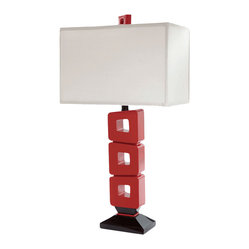 "Bungalow Belt - Lounge Life Rectangular Lamp - Give the term ""lounge lizard"" a whole new meaning with this mod take on a rectangular lamp that's perfect for an in-home bar. The poly base in black and red sports a glossy finish, while the off-white fabric shade complements the colorful body. A red finial tops it off."