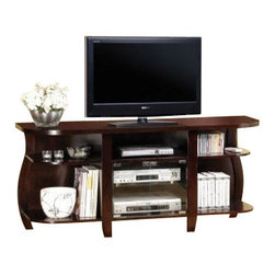"""Coaster - TV Console (Cappuccino) By Coaster - Dimension: 60""""W x 18""""D x 27""""H Finish: Cappuccino Material: Wood, Glass TV Console with Glass Doors in Cappuccino Finish Cappuccino finish TV console offers ample storage for audio or video media. Features double glass doors and generous shelving for personal items. Assembly required."""