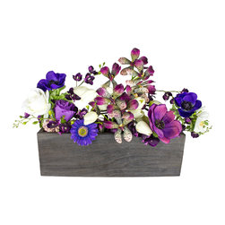 The Firefly Garden - Violet Hill - Illuminated Floral Design, Kiri Wood Vase - Bring the bounty of the Spring and Summer cutting garden to your home with Violet Hill. Arranged in a planter box, you�۪ll enjoy a burst of lovely blooms featuring the purple hues of Anemone, Ranunculus and Vanda Orchid, with fresh white accents of Rose and Daisy.