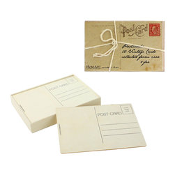 Vintage and Wood Postcard Set - Write your own postcards with both vintage-style and wooden postcards for your scribblings. You can use the postcards as a decorative accent, or send off the wooden ones to your far-flung correspondents. Comes with  12 vintage and 12 wooden postcards.