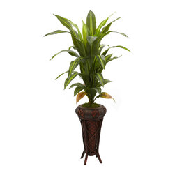 "Nearly Natural - Nearly Natural 57"" Dracaena with Stand Silk Plant (Real Touch) - Stately is the word that springs to mind with this large 57"" Dracaena silk plant. With its cascading leaves gently rising up and out, it definitely commands attention. Standing tall nearly five feet in height, it makes an ideal room accent, corner piece, or entryway accompaniment, and looks great in both the home and office. Comes with a decorative planter stand."