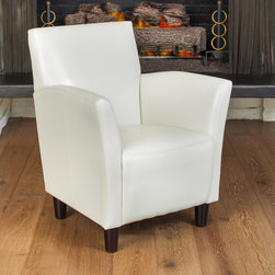 Christopher Knight Home - Christopher Knight Home Francisco White Bonded Leather Club Chair - Winter white makes a stunning sight any time of year,and this white leather club chair will surely change the entire look of your room. The blocky legs are finished in a deep espresso to add visual depth,and the seat styling has a retro-modern look.