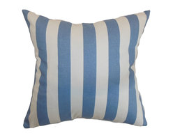 """The Pillow Collection - Ilaam Stripes Pillow Baby Blue 18"""" x 18"""" - Recreate a coastal-inspired theme in your home by using this stripes throw pillow. This accent pillow brings a nautical touch to your interiors with its baby blue and white color combination. Group this square pillow with other patterns for a varied look or simply match it with complementary solids. Made from 100% soft cotton fabric, this 18"""" pillow makes your living room or bedroom more relaxing. Hidden zipper closure for easy cover removal.  Knife edge finish on all four sides.  Reversible pillow with the same fabric on the back side.  Spot cleaning suggested."""