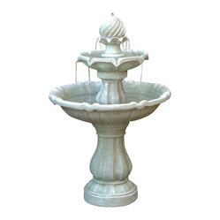 Serenity Health & Home Decor - Two-Tier Solar On Demand Fountain - A classic fountain in every way, except that it's entirely solar-powered, running up to four hours on just a day or two of stored sunlight. From its swirled peak to its two-tiered basin, it's sure to add a stately grace and babbling brook-like calm to any of your outdoor spaces.