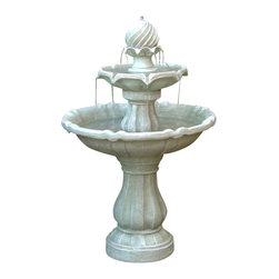 Sunnydaze Decor - Two Tier Solar On Demand Fountain, White Earth Finish - A classic fountain in every way, except that it's entirely solar-powered, running up to four hours on just a day or two of stored sunlight. From its swirled peak to its two-tiered basin, it's sure to add a stately grace and babbling brook-like calm to any of your outdoor spaces.