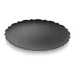 Alessi - Alessi 'Dressed' Round Tray, Black - For special occasions or just making everyday feel special, this round stainless steel tray brings an extra splash of pizzazz to your table. This beautiful tray, designed by Marcel Wanders, features an ornate relief pattern.