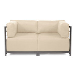 Howard Elliott - Sterling Sand Axis 2-piece Sectional - Titanium Frame - A Fashionable Pair! Lounge in style on a Sterling Axis Loveseat. Float the Sterling Axis Loveseat in your room for an intimate seating arrangement. Expand your loveseat with additional Chair, Corner or Ottoman Pieces. This Loveseat features boxed cushions with Velcro attachments to keep the cushions from slipping and looking their best all of the time. Your Sterling Axis 2 pieces Sectional will definitely turn heads with its sophisticated linen-like texture and vibrant color selection. This Sterling Sand piece is 100% Polyester finished in a soft burlap texture in a sand color. 65 in. W x 32.5 in. D x 30 in. H