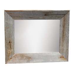 MyBarnwoodFrames - Rustic Mirror 20x34 Mirror with Beveled Barn Wood Frame - Rustic  Mirror  -  Barn  Wood  20x34          A  simple  yet  tasteful  addition  to  your  rustic  lodge  or  cabin  decor,  this  beautiful  mirror  is  designed  with  simplicity  in  mind.  Handcrafted  from  weathered  barn  wood  planks,  this  mirror  features  a  slightly  beveled  frame  face  that  slopes  away  from  the  mirror  just  like  a  picture  frame.  We  start  with  3-4  weathered  barn  wood  planks  and  handcraft  each  mirror  frame  according  to  customer  specifications.  We  can  create  a  rustic  mirror  in  almost  any  dimensions.  Just  contact  us  for  a  quote.           Mirror  can  be  hung  horizontally  or  vertically.  Please  specify  horizontal  or  vertical  hang  when  you  order.          Product  Specifications                  Handcrafted  from  natural  barn  wood  planks              Mirror  dimensions  approximately  17x28              Finished  mirror  (approximate  exterior  dimensions)  :  20x34              Hanging  hardware  is  included