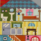 Momeni - Lil Mo Whimsy Multi Kids Doll House 5' x 7' Momeni Rug by RugLots - Forest critters, retro robots and mod flowers, oh my! Quirky motifs combine to put Lil Mo Whimsy in a class by itself. Hand-tufted of soft mod-acrylic, this collection features hand-carving for added texture and a vibrant color palette to make it as fun as it is unique.