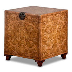 TerraSur - Challa Hand Painted Cube - Hand painted cube with storage space.  Soft close hinge.  Made in Peru
