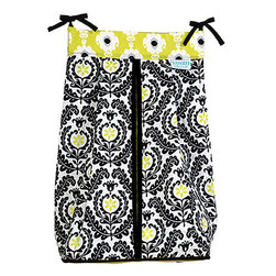 Trend Lab - Trend Lab Waverly Rise and Shine Crib Bedding Collection - Diaper Stacker - Keep your diapers organized concealed and close at hand with the Rise and Shine Diaper Stacker from Waverly Baby by Trend Lab. Diaper stacker features a meridian damask print in black and white with pops of linden green accented by a linden green based Rise and Shine print in black and white top and a linden green trim. Ties allow for easy attachment to most dressers and Changing tables. Measures 12 in x 8 in x 20.25 in and holds up to three dozen diapers.
