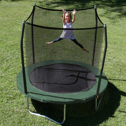 Skywalker - 8' Round Trampoline with Safety Enclosure - The Skywalker Trampolines 8' Round Trampoline and Enclosure Combo is the perfect size for the smaller jumper or for those with limited yard space. The enclosure attachment features a unique 'button hole' feature which eliminates gaps between the jumping surface and the springs providing your little jumper with a safe and durable trampoline. Features: -Extra thick, UV protected Spring Pad Cover. -Trampoline and enclosure frame made with galvanized steel to last for years. -Trampoline enclosure uses a button hole feature to connect the enclosure net to the jump mat providing additional safety to jumpers by eliminating gaps. -T-Bracket technology used in the frame assembly eliminates frame from twisting and gives increased stability. -56 Rust resistant springs for added bounce. -Stay-put enclosure net attaches at each spring clip. Net attaches to the inside of the spring next to the jumping mat. -Jumping surface height is 21 off the ground making it easily accessible to the smaller jumper. -Recommended for ages 6 and above with a 175 lb. weight capacity. -1 Year Limited Warranty of Frame. 90 Day Limited Warranty on Materials. -Meets or exceeds ASTM safety standards. -Adult Assembly Required.