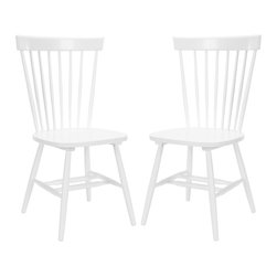 Country Lifestyle Spindle Back White Dining Chair Set - This pair of chairs is the perfect mix of clean modern lines and classic form. They're a great transitional pick that will fit right into any style space.