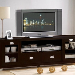 "Acme - Commerce Collection Espresso Finish Wood TV Stand Entertainment Center Console - Commerce collection espresso finish wood TV stand entertainment center console with glass front doors. This set features glass front doors and an open storage area. Measures 69"" x 15"" x 23"" H. Some assembly required."
