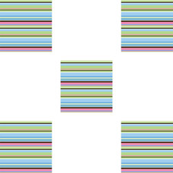Brewster Home Fashions - Ribbon Candy Blox Square Blue Stripes Wall Accents - FEATURES: