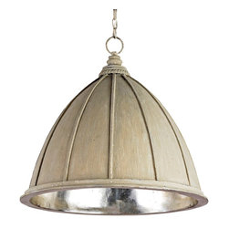 Currey and Company - Fenchurch Pendant - With the neutral look of the Oyster Cream finish, the Fenchurch Pendant fits into a number of decorating schemes. The wrought iron framework is finished with Silver Leaf to add a touch of elegance.
