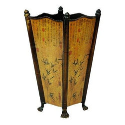 Oriental Furniture - Bamboo Accent Umbrella Stand - Bring a graceful Oriental accent to your home decor with this beautiful umbrella stand! Its exquisite details include the carefully sculpted feet, an ancient Chinese painting of bamboo leaves, and authentic calligraphy. This delicate umbrella stand makes the perfect housewarming gift.