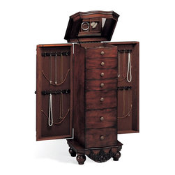Adarn Inc - Dark Cherry Traditional Jewelry Armoire Chest Drawers Side Doors Classic - This classic jewelry armoire makes a stylish addition to your traditional home. Storage drawers line the center of the chest and include felt lining to keep keepsakes, family heirlooms and delicate pieces in beautiful shape. A framed lid lifts open to reveal a mirrored top and additional compartments for keeping rings, earrings and smaller pieces neatly in place. Side doors swing back to offer additional hanging space for necklaces, lockets and chains. An elaborately carved apron adorns the base and is contrasted with the classic simplicity of sturdy bun feet.