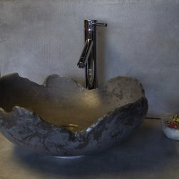 """Concrete with a Modern Rustic twist - We make concrete sinks like this one, """" The Artifact"""". Shipping nationwide Concrete sinks, concrete furniture, leather, concrete.Photos: BDWG"""