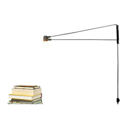 "Brendan Ravenhill - Cord Lamp, Black, 24"" - A swing-arm lamp makes the best lighting for a small home; mounted to the wall, it won't take up any precious floor or table space. You might consider using this modern, streamlined version on either side of a bed or as a reading lamp next to a sofa."