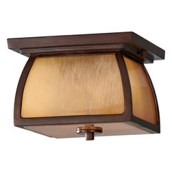 Murray Feiss - Murray Feiss Wright House Transitional Outdoor Flush Mount Ceiling Light X-RBS31 - From the Wright House Collection, this unique Home Solutions flush mount ceiling light features prairie influencing and mission styling that is reminiscent of Frank Lloyd Wright's classic designs. The frame has been finished in a charming Sorrel Brown hue that compliments the warm and textural look of the striated ivory glass window panes.