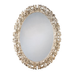 """Inviting Home - Carved Oval Mirror - Oval hand carved wood mirror with floral design and antique silver leaf finish 32-1/2"""" x 42""""H hand-crafted in Italy This elegant oval carved wood mirror is hand crafted from wood and finished in antique silver leaf. Decorative oval wall mirror carved in deep relief with floral design. This mirror is hand-crafted in Italy."""