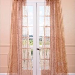 EFF - Esparanza Copper Embroidered Sheer Curtain Panel - This curtain panel is from the Embroidered Sheers Collection and unmatched in quality. The panel creates a beautiful diffusion of light in gold with a tight swirly copper embroidery.