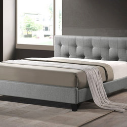 Baxton Studio - Baxton Studio Annette Gray Linen Modern Bed with Upholstered Headboard - Queen S - Turn in for the night atop a dream of a bed in beautiful upholstery! Annette is a fashion-focused modern platform bed with hints of mid century style yet is inconspicuous enough to suit your favorite bed linens. Lovely Annette is made in Malaysia with care: a hardwood and plywood frame is the basis for the gray linen-like fabric upholstery, which is then softened with an underlying layer of foam padding. Being that Annette is a platform bed, only a mattress (not included) is required--a set of wooden slats (included) provide support similar to that of a box spring, rendering use of one unnecessary. Richly-colored dark brown wooden legs are a chic finishing touch. Though this version of the Annette Designer Bed is a queen size with gray upholstery, it is also offered in light beige and in full size (gray and light beige, each sold separately). The contemporary bed frame is packed snugly in cardboard cartons and requires assembly upon unpacking. The Annette Bed must be spot cleaned when needed.