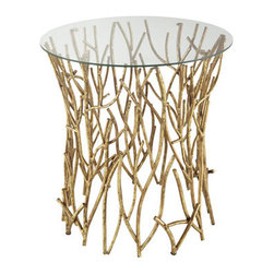 """Horchow - """"Elm"""" Side Table - I see this as more art than table — a beautiful gold sculpture that just happens to have a surface you can set things on."""
