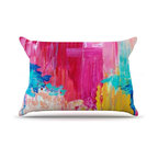 """Kess InHouse - Ebi Emporium """"Elated"""" Multicolor Paint Pillow Case, King (36"""" x 20"""") - This pillowcase, is just as bunny soft as the Kess InHouse duvet. It's made of microfiber velvety fleece. This machine washable fleece pillow case is the perfect accent to any duvet. Be your Bed's Curator."""