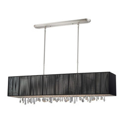 Five Light Brushed Nickel Nylon Black Shade Island Light - Beautiful black ribbons surround this elegant rectangular fixture, which is suspended from telescoping finished in brush nickel hardware, to ensure the perfect height. In contrast, solid glittering crystals hang from the bottom of this fixture to add additional beauty to an already beautiful fixture.
