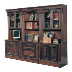 Parker House - Parker House Huntington 6-Piece Glass Bookcase Office Wall in Vintage Pecan - Parker House Furniture is a family owned company offering high quality home office and home entertainment furniture since 1946. They are committed to offering 100% customer satisfaction and make customer service a number one priority. Parker House Furniture manufactures luxurious collections in a variety of rich finishes that are accented with classy details. Wide range of entertainment centers, home office furniture, library walls, and a great selection of media centers are just some of the items they provide to make you home beautiful and unique.