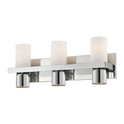 World Imports - Pillar 3-Light Bathbar, Chrome - Opal glass tube with downlight holder