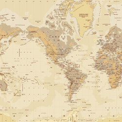"""Tan World Map Wall Mural, Peel & Stick, 3-Panel - 107"""" x 72"""" - A decorative wall mural map of the world featuring  warm hues of tan and brown shaded according to land elevation and sea  depths. This modern world map design features country borders outlined  with countries and major cities labeled."""