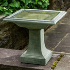 Campania International - Campania International Avery Cast Stone Birdbath - B-153-AL - Shop for Garden Bird Baths from Hayneedle.com! About Campania InternationalEstablished in 1984 Campania International's reputation has been built on quality original products and service. Originally selling terra cotta planters Campania soon began to research and develop the design and manufacture of cast stone garden planters and ornaments. Campania is also an importer and wholesaler of garden products including polyethylene terra cotta glazed pottery cast iron and fiberglass planters as well as classic garden structures fountains and cast resin statuary.Campania Cast Stone: The ProcessThe creation of Campania's cast stone pieces begins and ends by hand. From the creation of an original design making of a mold pouring the cast stone application of the patina to the final packing of an order the process is both technical and artistic. As many as 30 pairs of hands are involved in the creation of each Campania piece in a labor intensive 15 step process.The process begins either with the creation of an original copyrighted design by Campania's artisans or an antique original. Antique originals will often require some restoration work which is also done in-house by expert craftsmen. Campania's mold making department will then begin a multi-step process to create a production mold which will properly replicate the detail and texture of the original piece. Depending on its size and complexity a mold can take as long as three months to complete. Campania creates in excess of 700 molds per year.After a mold is completed it is moved to the production area where a team individually hand pours the liquid cast stone mixture into the mold and employs special techniques to remove air bubbles. Campania carefully monitors the PSI of every piece. PSI (pounds per square inch) measures the strength of every piece to ensure durability. The PSI of Campania pieces is currently engineered at approximate