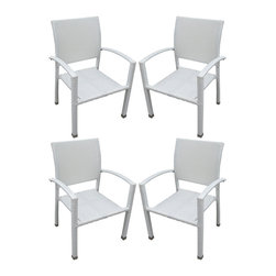 LexMod - Four Bella Outdoor Stackable Dining Chairs in White - Relax in confidence, as you effortlessly unite diverse forces to take center stage. Wealth and success surround you and draw attention to greater heights. This outdoor wicker dining chair has a sturdy aluminum frame covered with an espresso rattan weave.