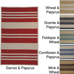 Colonial Mills - Sunbrella Stripe Area Rug - A classic stripe pattern gives your room or patio sophisticated style with the unparalleled performance and durability of Sunbrella.