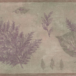 York Wallcoverings - Olive Green Purple Tree Leaves Wallpaper Border - Wallpaper borders bring color, character and detail to a room with exciting new look for your walls - easier and quicker than ever.