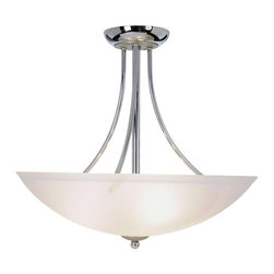 AF Lighting - AF Lighting Essen Chrome & Brushed Nickel Glass 3-Light Flush Mount Pendant - AF Lighting Essen Collection Three Light Pendant in Chrome with Brushed Nickel Accents and Frosted Glass Shade