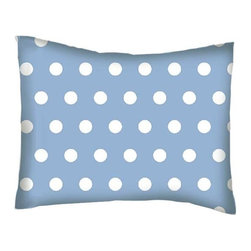 SheetWorld - SheetWorld Twin Pillow Case - Percale Pillow Case - Polka Dots Blue-Made in USA - Twin pillow case. Made of an all cotton woven fabric. Side Opening. Features a beautiful 1/2 inch white dot print on a blue background.