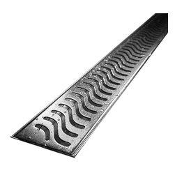 "Quartz by Aco - Quartz by Aco Linear Drain Flag Design Flange Body, Stainless Steel, 40"" - Quartz Flange Edge Linear Shower Drain Flag Design"