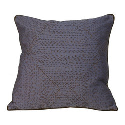 Jiti Pillows - Traks Square Decorative Pillow in Purple and Brown - Features: -Decorative pillow. -Color: Purple and brown. -Material: 100% Poly. -Down insert. -Hidden zipper. -Dry clean only.