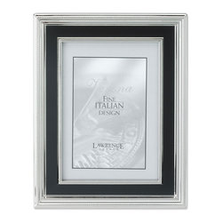 Lawrence Frames - 8x10 Silver Plated Metal Picture Frame - Satin Black Inner Panel - A fabulous silver plated dimensional frame with ribbed outer edge.  This silver plated and lacquer coated frame has a satin black panel which gives it a very rich look.  High quality black velvet backing with an easel for vertical or horizontal table top display, and hangers for vertical or horizontal wall mounting.    Heavy weight metal picture frame is made with exceptional workmanship and comes individually boxed.