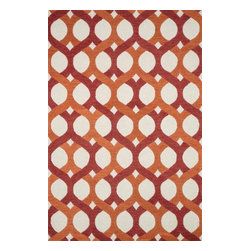 "Loloi Rugs - Loloi Rugs Weston Collection - Red / Orange, 3'-6"" x 5'-6"" - Feast your eyes on this. Hand-tufted in India of 100% wool, the tastefully designed Weston Collection features vibrant colors and bold, graphic patterns that instantly uplift the mood of your room. What's more, each Weston rug is crafted with a combination of colorful cut pile and ivory loops - adding a sense of depth and drama to these amazingly textural rugs."